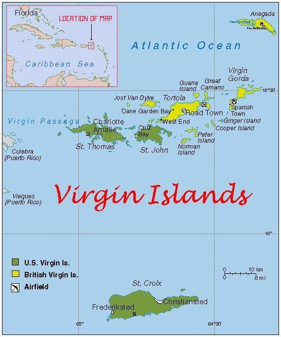 Trip Planning Jeanneplans - Map of the virgin islands british and us